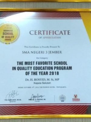 The Most Fovourite School In Quality Education Program of The Year 2018