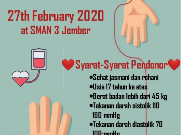 Donor Darah PMR Wira SMAN 3 Jember