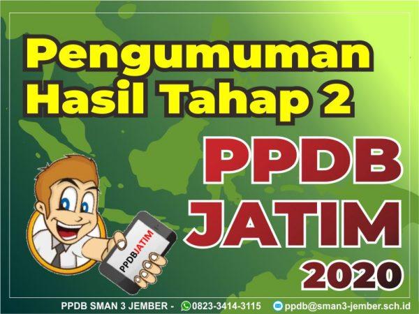 Pengumuman Bagi Siswa yang diterima di PPDB Jatim 2020 Tahap 2 (Jalur Zonasi)